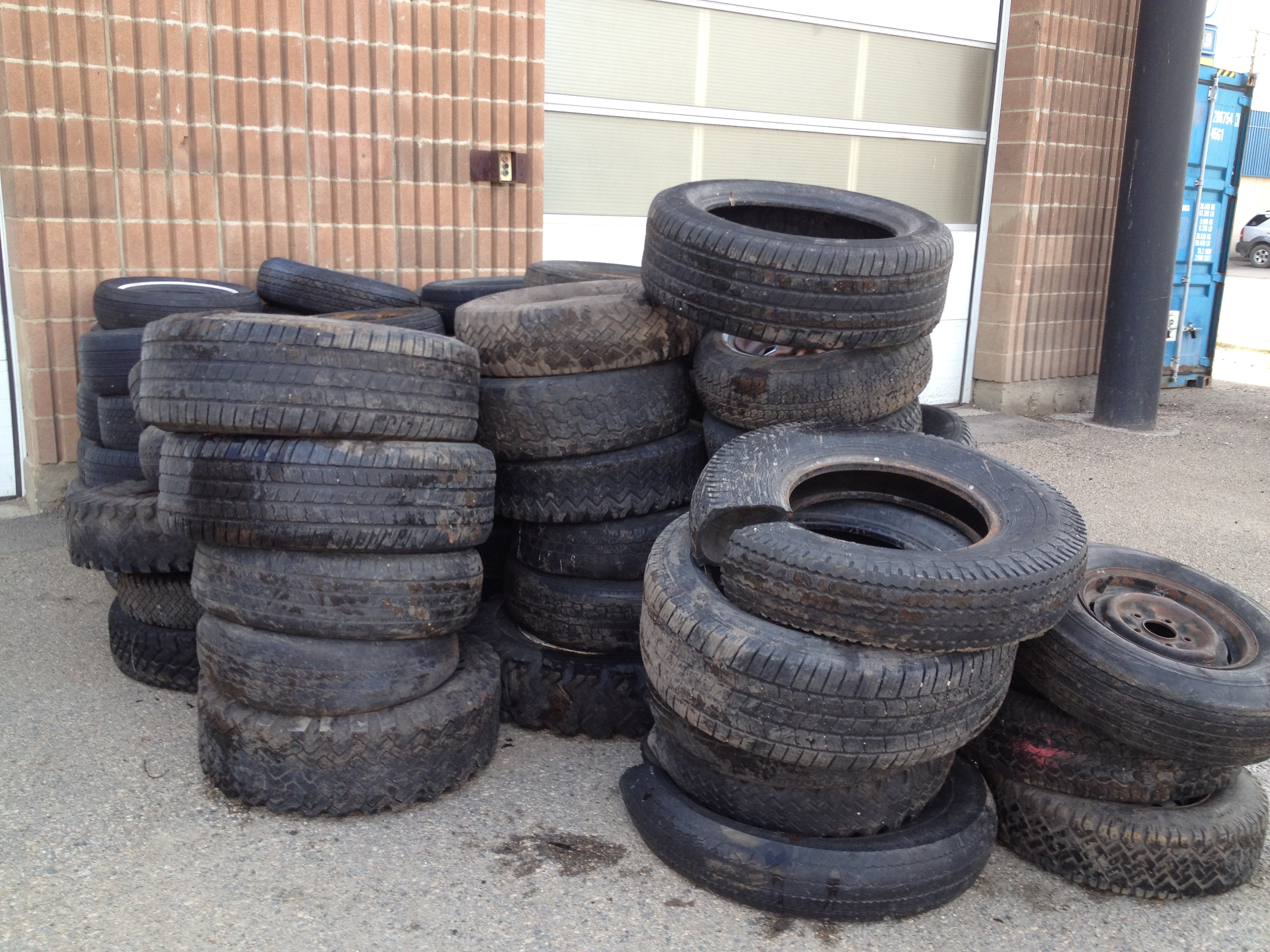 Tires discarded at the Richard St. Barbe Baker Afforestation Area and removed, and taken in for recycling, a charge to the volunteers of over $350.00