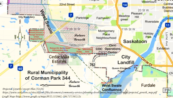Map showing the Afforestation Area Formerly Known As George Genereux Urban Regional Park, and the Richard St. Barbe Baker Afforestation Area, South West Off Leash Recreation Area, SW OLRA and the Afforestation Area All are within City of Saskatoon boundaries as of an annexation of 2005